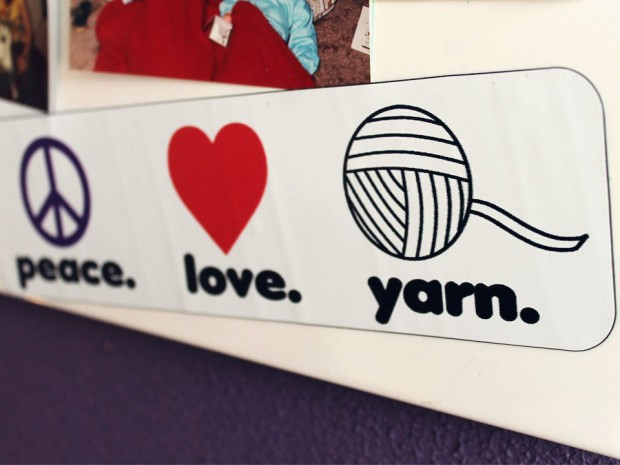peace love yarn magnet